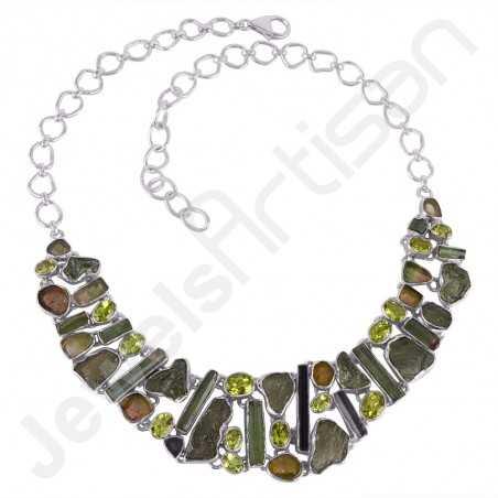 Tourmaline Necklace Moldavite Necklace 925 Sterling Silver Necklace