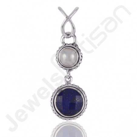 Lapis Lazuli Pendant 925 Sterling Silver Pendant Pearl Pendant