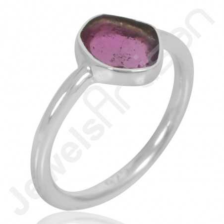 Natural Tourmaline Ring 925 Sterling Silver Ring Solitaire Gemstone Ring