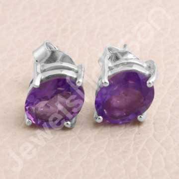 Purple Amethyst Studs 925...