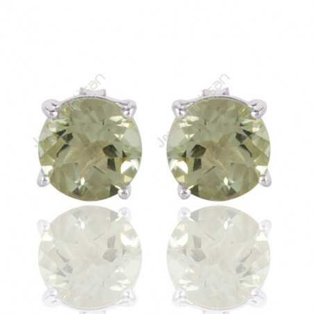 Green Amethyst and Solid Silver Prong Stud Earring for Womens