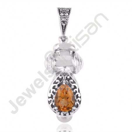 Citrine and Pearl Designer Pendant Oxidized Silver Pendant