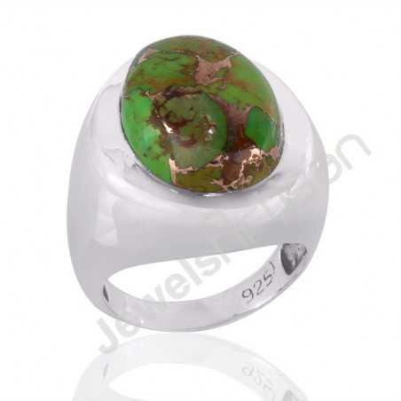Green Copper Turquoise and Silver Mens Ring Woman Ring