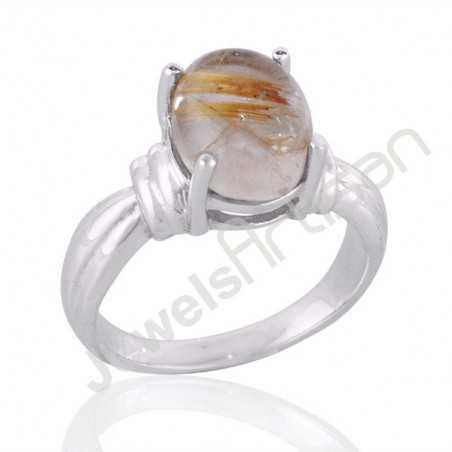 Rutilated Quartz Yellow Rutile and Silver Gemstone Ring
