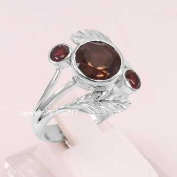 Smoky Quartz Ring Garnet...