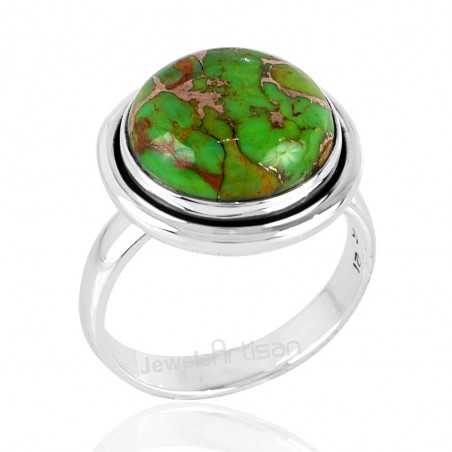 Green Copper Turquoise Solid Silver Handmade Ring Jewelry