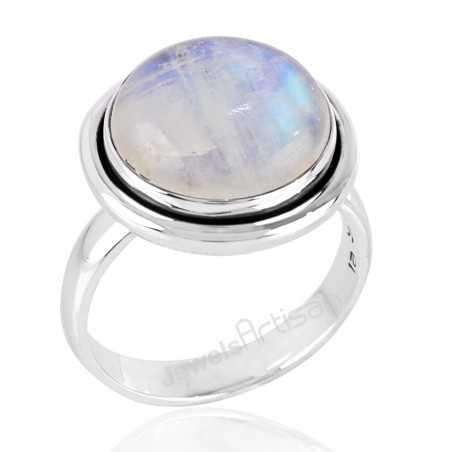 Rainbow Moonstone Silver Handmade Birthstone Ring for Girls