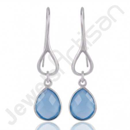 Blue Onyx and 925 Sterling Silver Dangle Drop Infinity Earrings