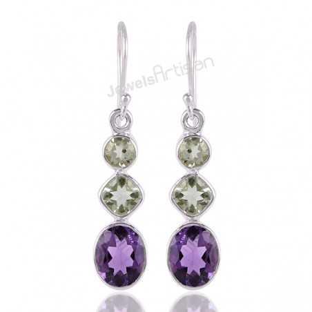 Amethyst and Prasiolite AKA Green Amethyst 925 Silver Dangle Earrings
