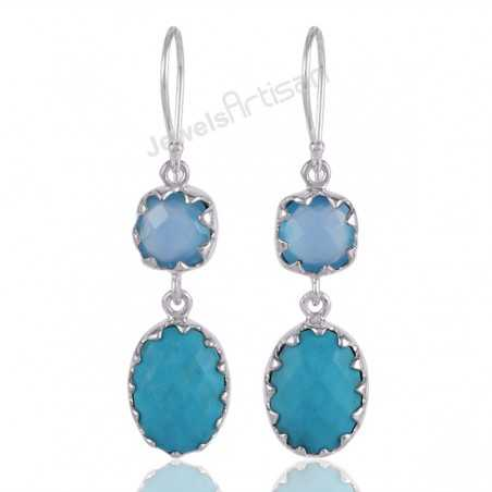 Chalcedony and Turquoise Prong Artisan Silver Earring