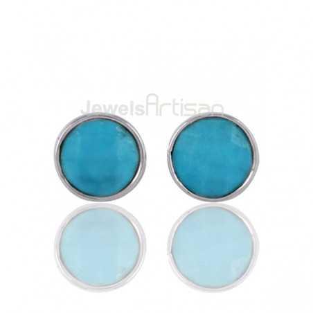 Turquoise Round Gemstone Silver Stud Earrings