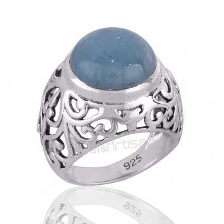 925 Solid Silver Aquamarine Gemstone March Birthstone Statment Ring
