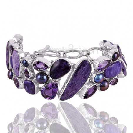 Amethyst Bracelet Charoite Bracelet 925 Sterling Silver Bracelet 10x14mm Pear Cut Multi-Gemstone Handcrafted Bracelet