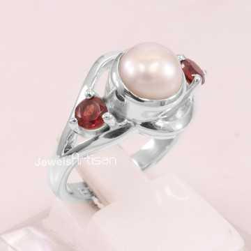 Pearl Ring Garnet Ring 925...