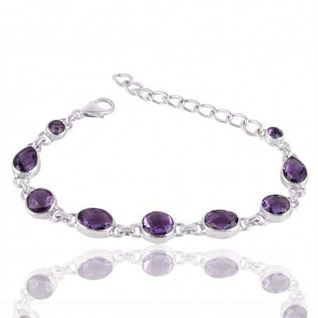 Assorted Amethyst and Solid Silver Beautiful Bracelet
