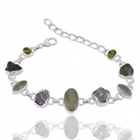 Green Kyanite Meteorite Moldavite Prehnite and Peridot Silver Bracelet