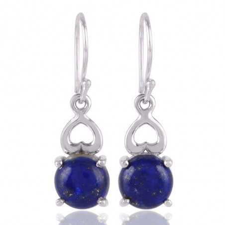 Sterling Silver Heart Lapis Lazuli Dangle Earring for Women and Girls