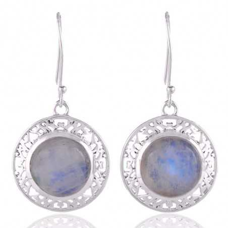 Rainbow Moonstone and Silver Filigree Earring