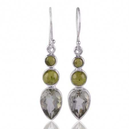 Green Amethyst and Idocrase 925 Silver Drop Dangle Earring