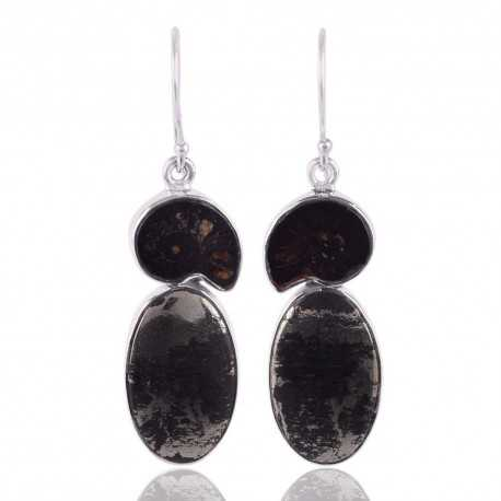 Shifer Pyrite and Ammonite Black Stone Silver Earrings