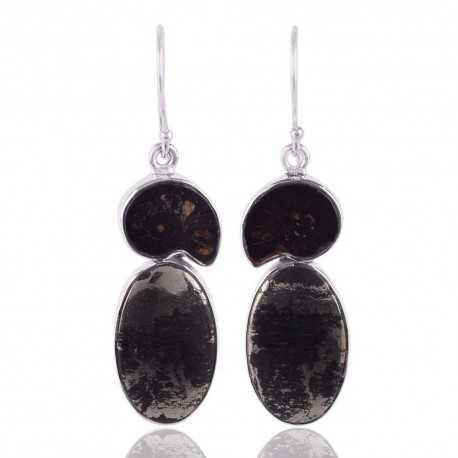 Shifer Pyrite and Ammonite Black Stone Silver Earrings