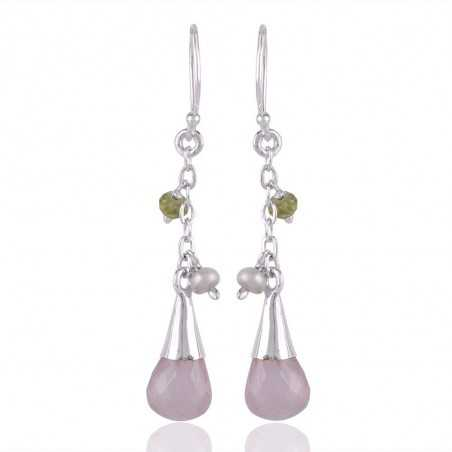 Rose Quartz Drop and Pearl Peridot 925 Silver Drop Earrings