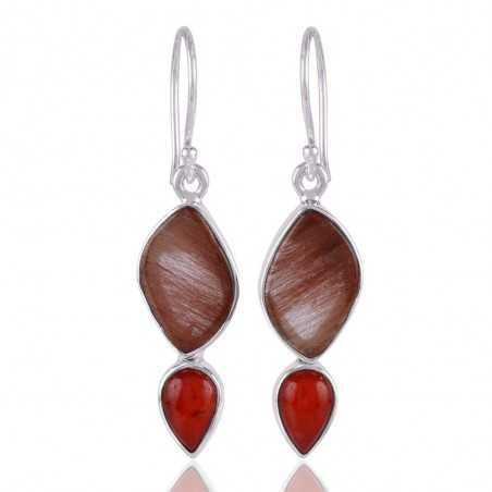 Red Coral and Yellow Rutile Sterling Silver Fancy Earring