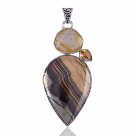 Schelm Blend Citrine and Yellow Rutile Three Stone Silver Pendant