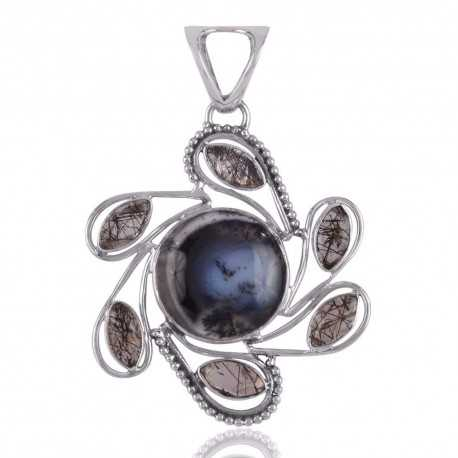Dendritic Opal and Black Rutile Tail Spin Silver Pendant Locket