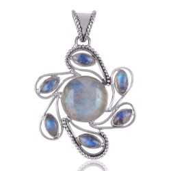 Rainbow Moonstone and Silver Flower Spinning Pendant Necklace