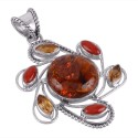 Baltic Amber Citrine and Coral Flower Pendant Sterling Silver
