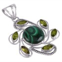 Malachite and Peridot Sterling Silver Pendant Necklace