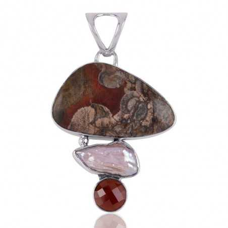 Mushroom Rhyolite Hessonite Garnet and Biwa Pearl 925 Silver Pendant