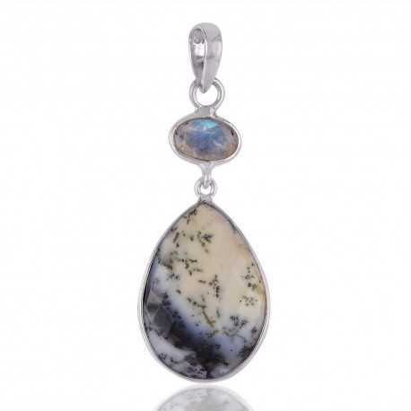 Rainbow Moonstone and Dendritic Opal Two Stone Silver Pendant