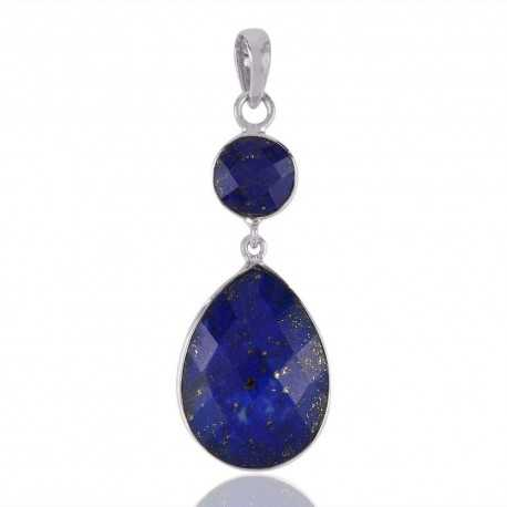 Lapis Lazuli Two Stone Drop Dangle Pendant 925 Silver Jewelry