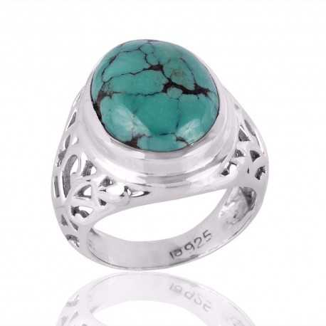 Turquoise and Filigree Style Silver Mens Womens Ring