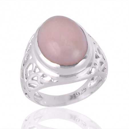 925 Silver Mens Ring Pink Opal Gemstone Mens Ring