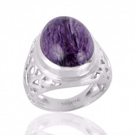 Charoite Purple Gemstone Mens Ring Steling Silver Mens Womens Ring