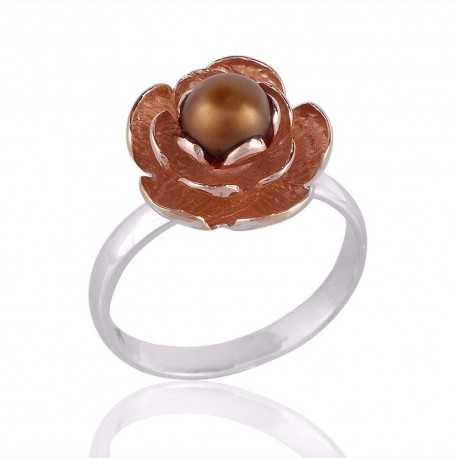 Lotus Ring Sterling Silver and Rose Gold with Pearl Designer Ring