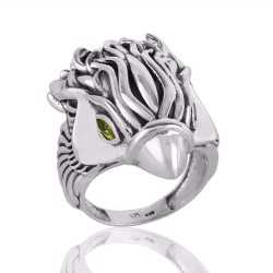 Sterling Silver Skull Ring with Peridot Eyes for Men and Women