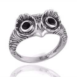 925 Silver Owl Skull Ring Black Onyx Eyes Men Ring Women Ring