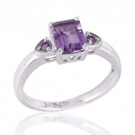 Silver Engagement Ring with Amethyst Wedding Ring