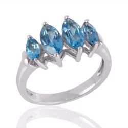 Blue Topaz BT 925 Silver designer Ring for Girls and Teens
