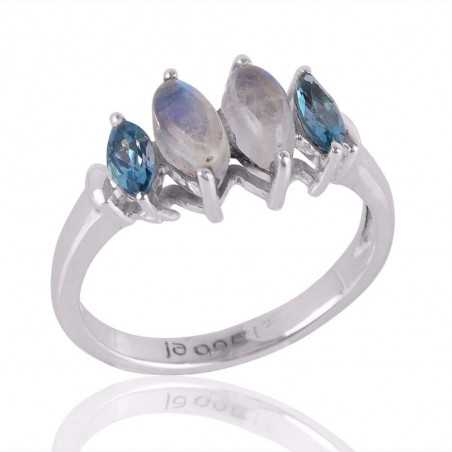 Blue Topaz and Moonstone Sterling Silver Beautiful Rings for Girls