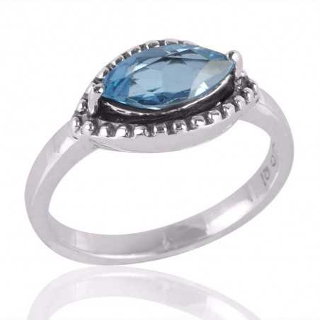 Blue Topaz Marquise and Silver Cheap Ring for Girls
