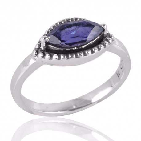 Iolite and Solid Silver Cheap Designer Ring