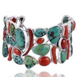 Turquoise and Coral Solid Sterling Silver Bracelet Large Bracelet Unique Wear