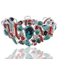 Coral Stick Turquoise and Smoky Quartz Solid Silver Bracelet One Time Piece Jewelry