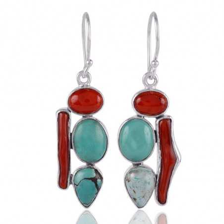 Turquoise and Coral 925 Silver Dangle Earring Party Wear Earring