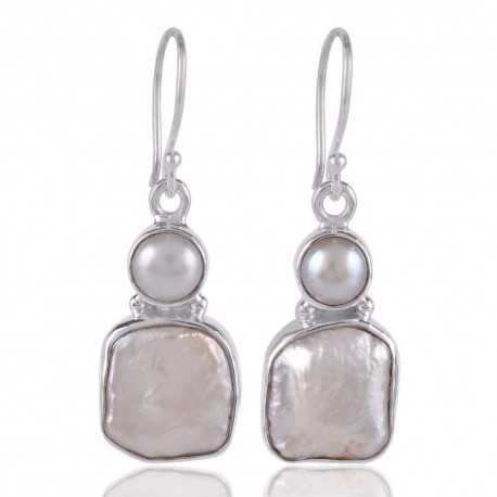 South Sea Pearl and Baroque Pearl 925 Silver Earring White Earring